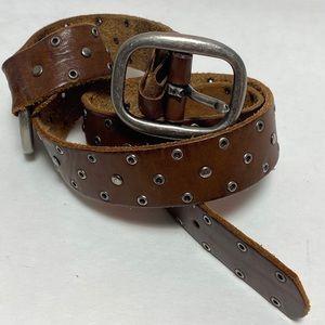 Vintage Genuine Leather Studded Brown Belt Sz S